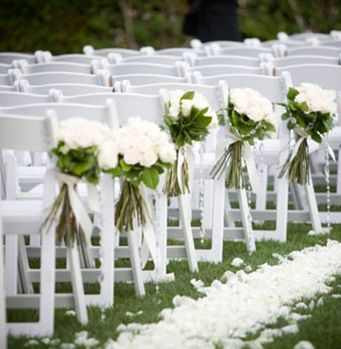 Classic White Wedding With Wooden Garden Chairs Floral