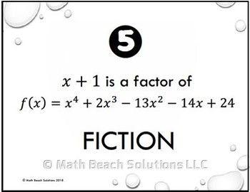 Fact Or Fiction Activity Algebra Activities Activities Math