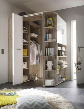 Rohova Skrin Bila Barvy Dubu In 2020 Corner Wardrobe Closet