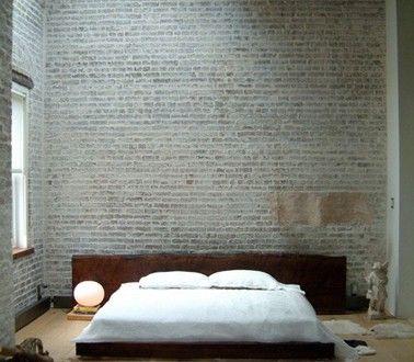 Chambre Deco Zen Mur De Parement Gris Tete De Lit En Bois Deco