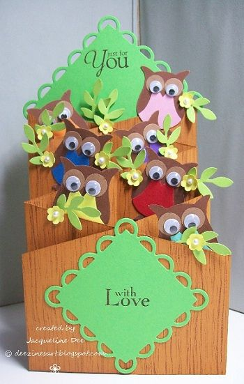 Cascade Card.... love the faux-tree look for all those owls!