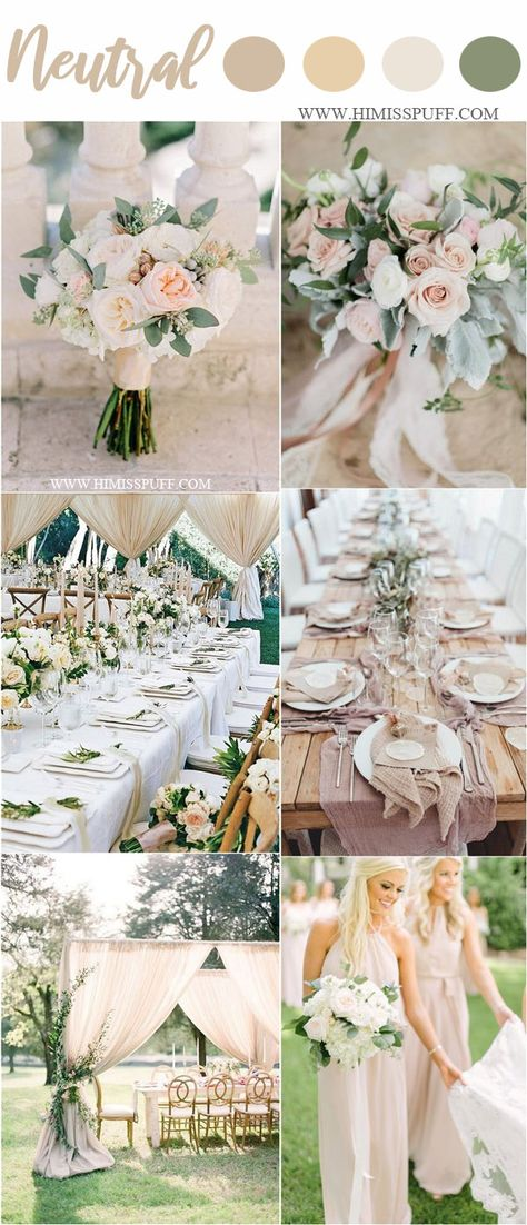neutral wedding color ideas for spring weddings #weddings #weddingcolors #weddingideas #springwedding #himisspuff #neutral