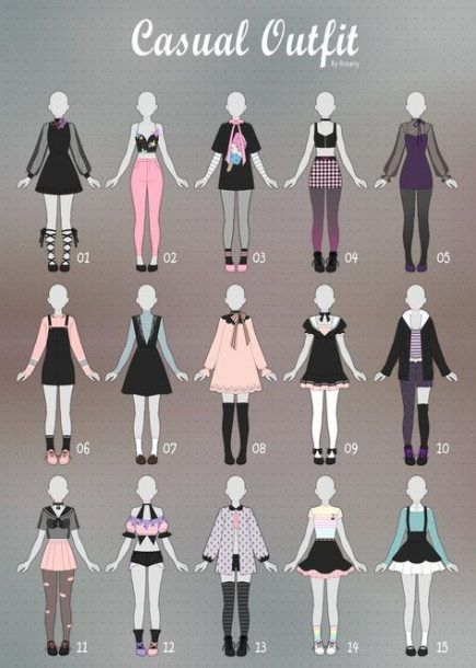 Cute Anime Girl Outfit Ideas : anime, outfit, ideas, Fashion, Sketches, Casual, Outfits, Ideas, Drawing, Anime, Clothes,, Design, Sketches,