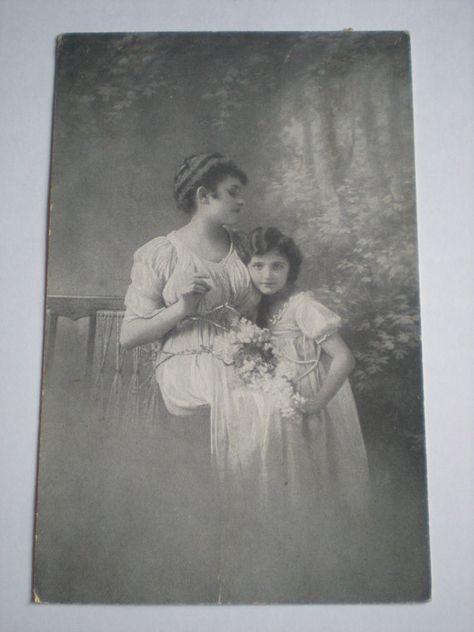 1910s Postcard Vintage . German card . Mother and Daughter .