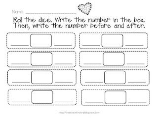 Roll the dice, write the number, then write the number before & after it