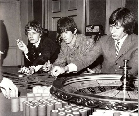 Mick , Keith and Charlie at the roulette table