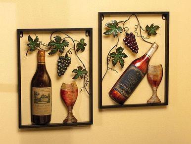 Metal Wine Wall Decor Set Of 2 Wine Wall Decor Wine Theme Kitchen Wine Decor