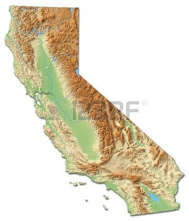 Mapa En Relieve De California Una Provincia De Estados Unidos - Mapa de california