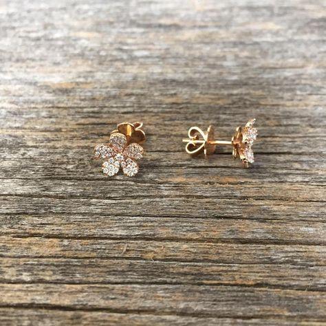 Oro Rosa LADIES Plain Twist diseño mariposa dejar pendientes