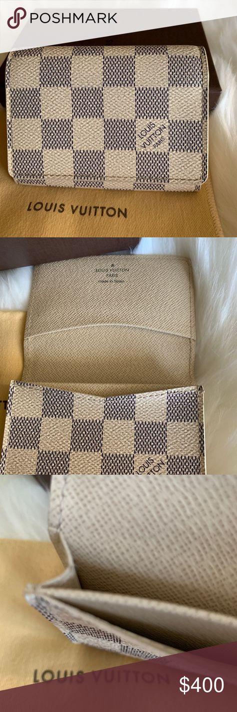 1dbafeb3cbd2 Authentic Louis Vuitton Damier Azur Card Holder ❤ This cute card case has 3  slots