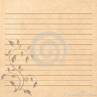 Vintage Romantic Writing Brown Paper For Letters With Floral Elements Board And White Lines Writing Paper Letter Paper Paper