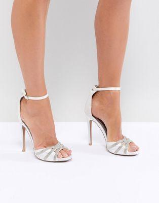c978b2dc90a QUPID Embellished Bridal Heeled Sandals #weddingshoes #bridalshoe ...