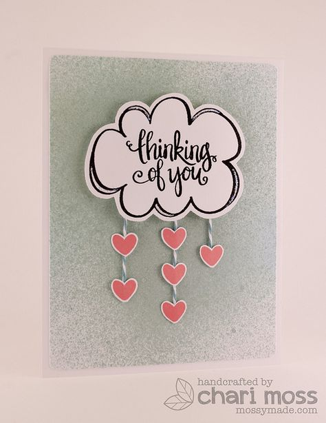 Thinking of You, raining hearts.  Neat & Tangled Thinking of you stamp set and misting