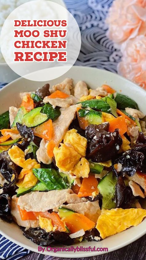 Quick and easy delicious Chinese moo shu chicken that you can put together within 20 minutes! #chinesefood #chickenrecipe #chineserecipe #easyrecipe #internationalrecipe