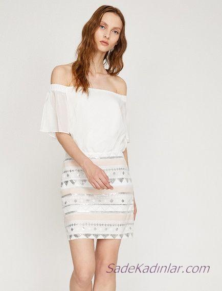 Koton Beyaz Elbise Modelleri Kisa Omzu Acik Dusuk Kisa Kollu Pul Payetli Elbise Modelleri Elbise Midi Elbise
