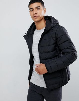 8a5a6737 New Look hooded puffer jacket in black | Men's Fashion @ Shopstyle ...