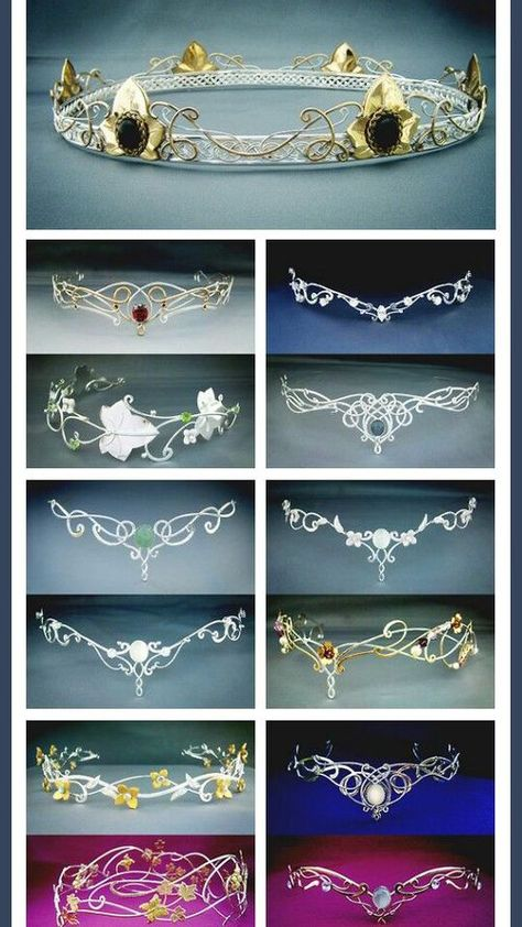Elven circlets from Medieval times. Flip upside down and look like great tiaras Fantasy Dress, Fantasy Hair, Fantasy Makeup, Fantasy Jewelry, Circlet, Tiaras And Crowns, Wire Jewelry, Head Jewelry, Jewelry Accessories