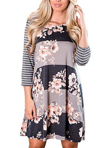 0544fa994 AlvaQ Women 3 4 Sleeve Floral A-Line Knee Length Casual T Shirt Dress