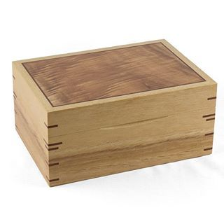 Red Gum Jewelry Box with wooden hinges