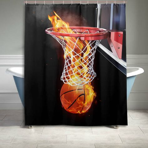 Abstract Art Fire Basketball Shower Curtain 60 X 72 Inch Bathroom