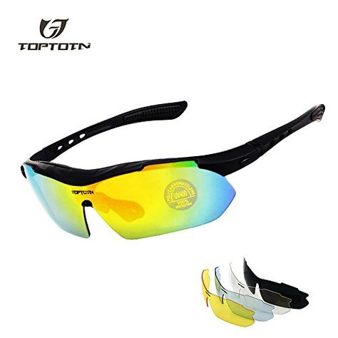 6544941b6a TOPTOTN POLARIZED Sports Sunglasses UV400 Protection Cycling Glasses With 5  Interchangeable Lenses for Cycling Baseball Fishing Running Driving for Men  and ...