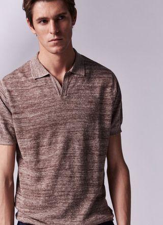 Polo Sin Botones En Piqué De Lino Hombres Camisas Ropa