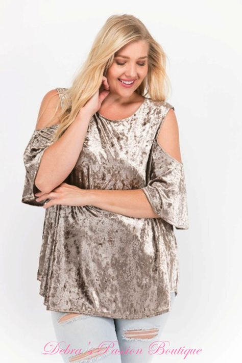 395b24a0af698 Janette Plus Premium Plus Size Apparel Soft Crushed Velvet cold shoulder  swing babydoll tops. Keyhole back. Soft and comfy just like you like it.