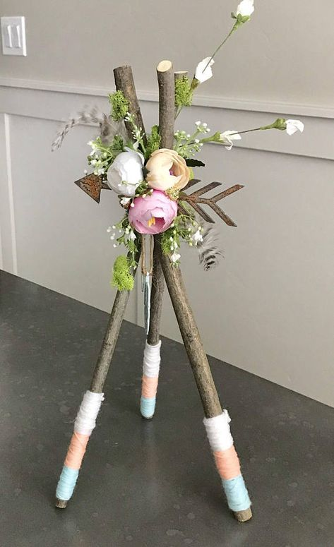 """15"""" Tee Pee Centerpiece ! This is an adorable decoration for birthdays, Showers, room decor, outside decor , possibilities are Endless!! **Made with beautiful straight sticks, gold dipped feathers, pheasant feathers, material wrapped sticks, high quality flowers and plants, Reindeer moss,"""