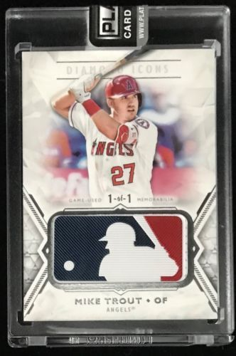 los angeles 230d0 308fa 2018 Topps Diamond Icons Mike Trout Game Used MLB Logoman ...