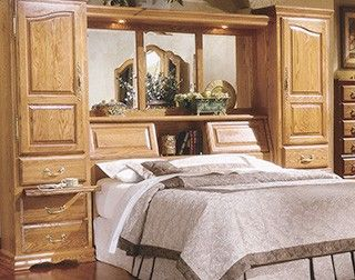 Bedroom Furniture Wall Unit pier bed wall king size | oak wall bed pier group - bedroom