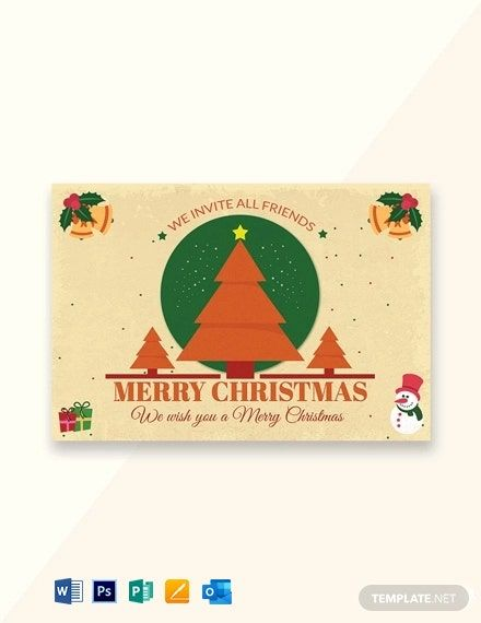 Merry Christmas Invitation Card Template Free Pdf Word Psd Apple Pages Publisher Outlook Christmas Invitation Card Christmas Gift Voucher Templates Christmas Invitations