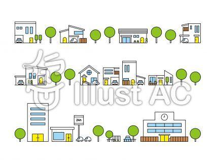 家 建物 アイコン 住宅 ハウジング 学校 ビル 公園 線画 アウトライン