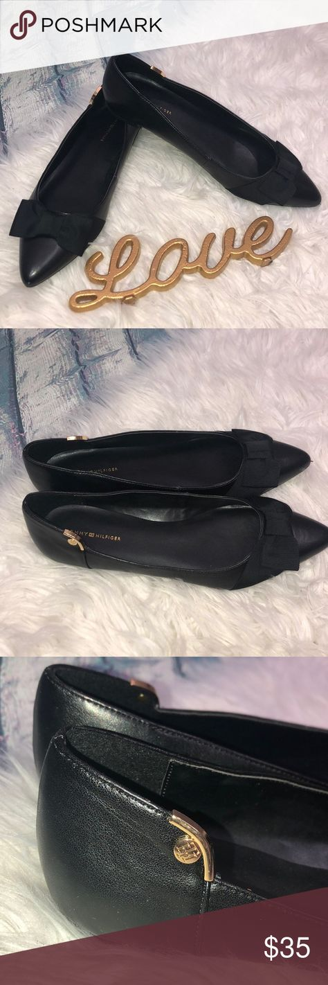 424bbf1de7d92d Tommy Hilfiger Tanzania 2 pointed toe black flats Excellent condition black  slip on flats with bows
