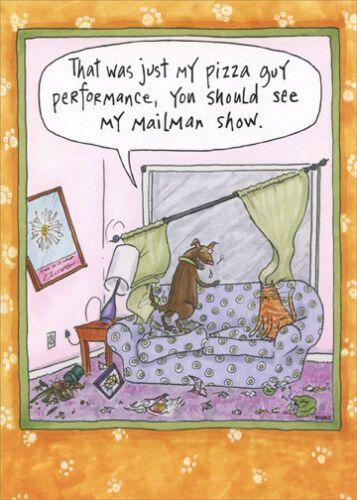 Oatmeal Studios Pizza Guy Performance Funny Cat And Dog Birthday Card Ebay Dog Birthday Card Dog Birthday Funny Cats And Dogs
