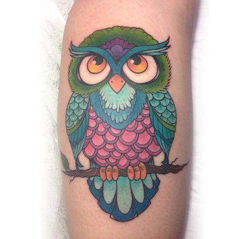 fuckyeahtattoos: Owl tattoo by Kelly Bunde at Mecca Tattoo