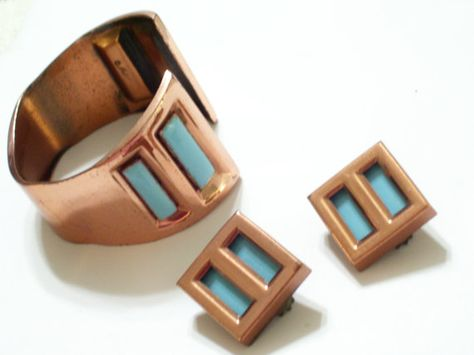 Rare Vintage MATISSE Aqua Turquoise Enamel and by TheCopperCat, $72.00