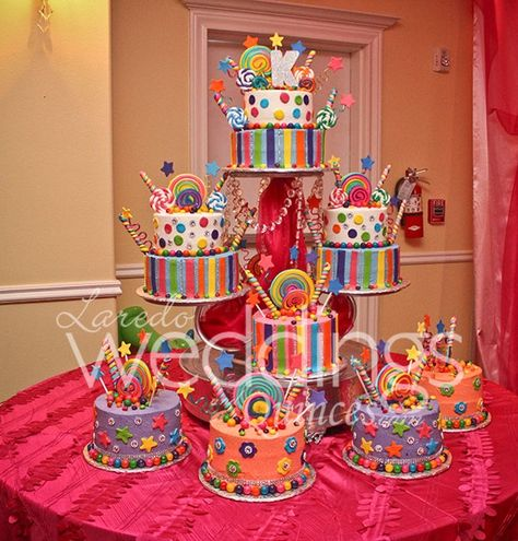 Beautiful cake for a candyland theme quinceanera #candyland #cake #colorful http://www.ldoweddings.com/candyland-quince/nggallery/page/1/