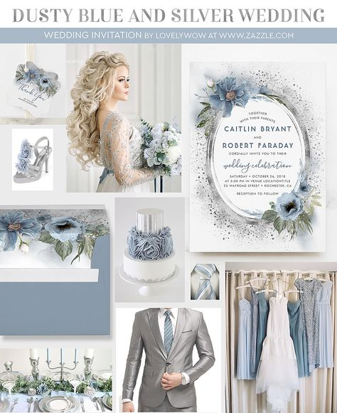 Dusty Blue & Silver Glitter Floral Rustic Wedding Invitation Zazzle com is part of Powder blue wedding - Shop Dusty Blue & Silver Glitter Floral Rustic Wedding Invitation created by lovelywow Personalize it with photos & text or purchase as is!