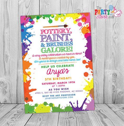 Painting Pottery Birthday Invitation Art Birthday Invite