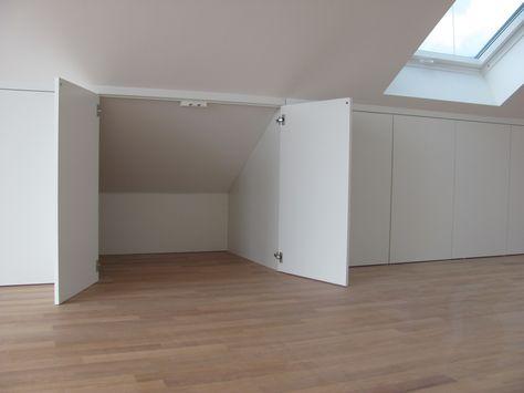 Stauraum unter der Dachschräge Schreinerei Bund u2026 Pinteresu2026 - schlafzimmer modern wandschrge