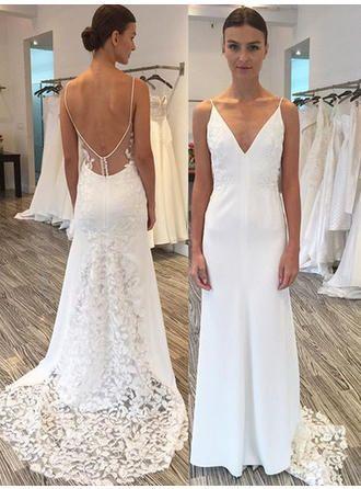 Us 135 00 Sleeveless Sheath Column Satin Lace Wedding Dresses Lalamira Plus Wedding Dresses Sheath Wedding Dress Lace Wedding Dresses With Straps