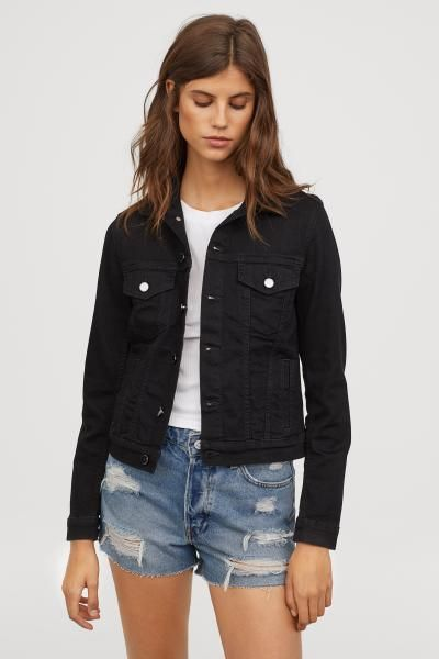 Denim Jacket Black Denim Ladies H M Us Black Denim Jacket Denim Jacket Women Denim Outfit