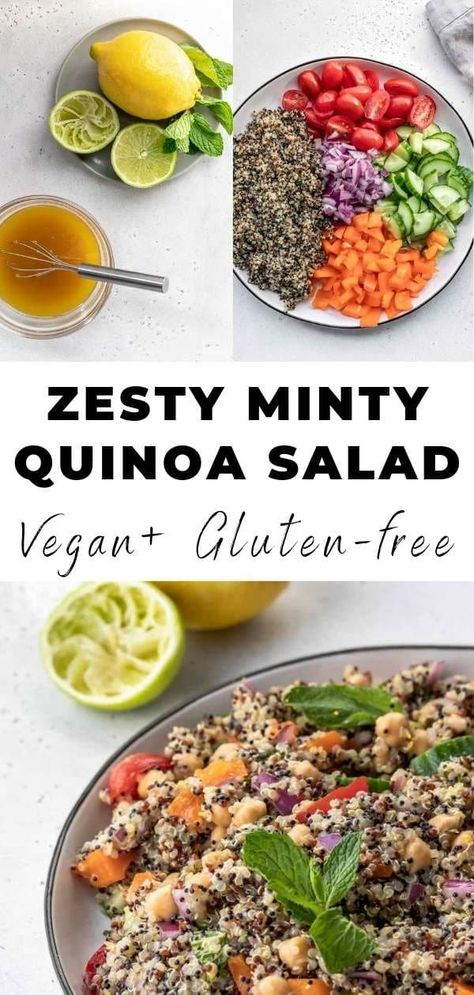 Minty & Zesty Quinoa Salad is the perfect summer salad or side dish with refreshing mint and bright citrus flavors paired with crisp veggies, garbanzo beans and chopped mint - vegan and full of plant-based protein! #zestyquinoasalad #summersalad #quinoasalad #zestysalad #mintsalad #mediterraneansalad #vegansalad