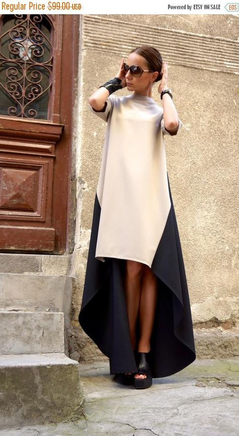 SALE New Collection Maxi Dress /Beige and Black Asymmetrical