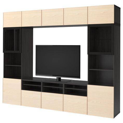 BESTÅ, TV-Komb mit Vitrinentüren, schwarzbraun Jetzt bestellen - wohnzimmer schwarz braun