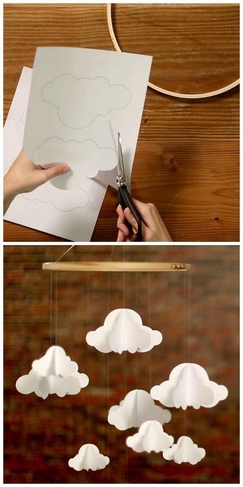 DIY: paper cloud mobile (free printable template)