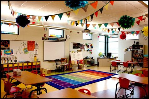This blog has great organization tips and layout of the classroom. Cute ideas! My dream classroom :)