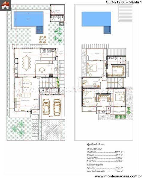 PLANO DE CASA DE 256 M2 Arquitetura Pinterest House, Duplex