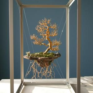 Wire Tree Sculpture, Sculpture Art, Wire Crafts, Diy And Crafts, Copper Wire Art, Bonsai Wire, Floating Island, Wire Trees, Creation Deco