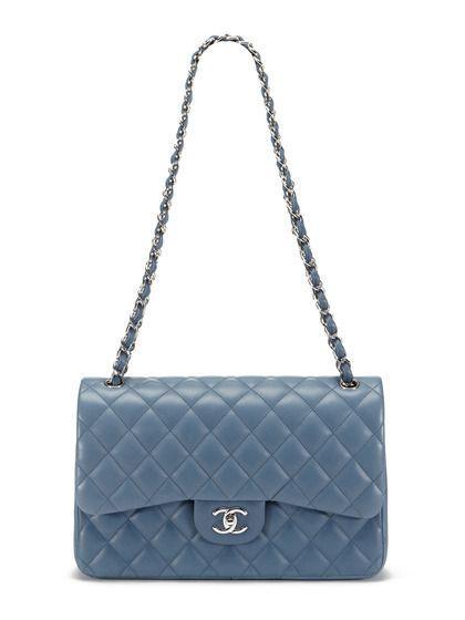 Chanel Blue Grey Lambskin Classic Jumbo 2 55 Double Flap Bag Chaneldoubleflapbag With Images Chanel Handbags Chanel Flap Bag Chanel